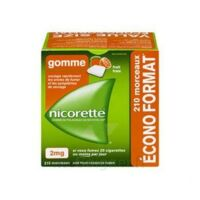 Nicorette 2 mg Gomme à mâcher médicamenteuse sans sucre fruits Plq/210 à TOUCY